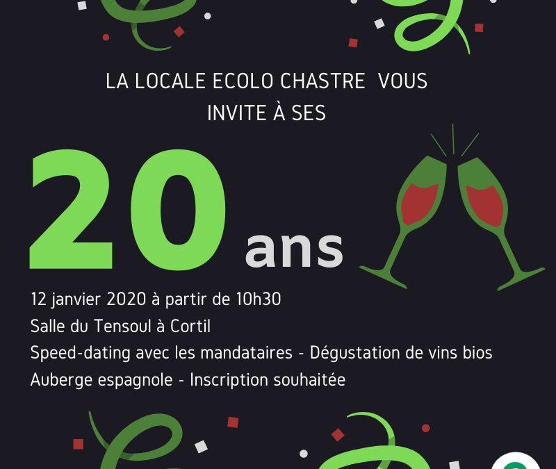 En 2020, Ecolo Chastre a 20 ans